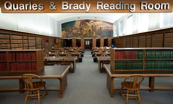The Quarles and Brady reading room at the law lbrary