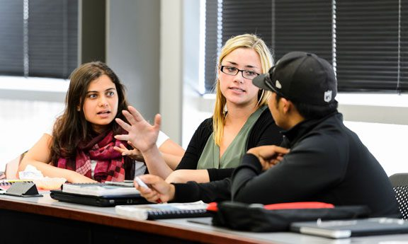 Pre-law students engaged in conversation