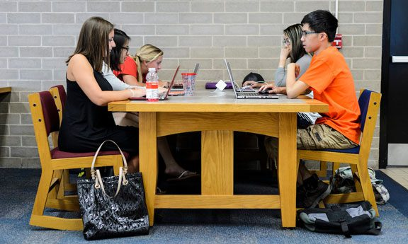 Undergrads studying in library