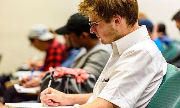 Student in mathematics class