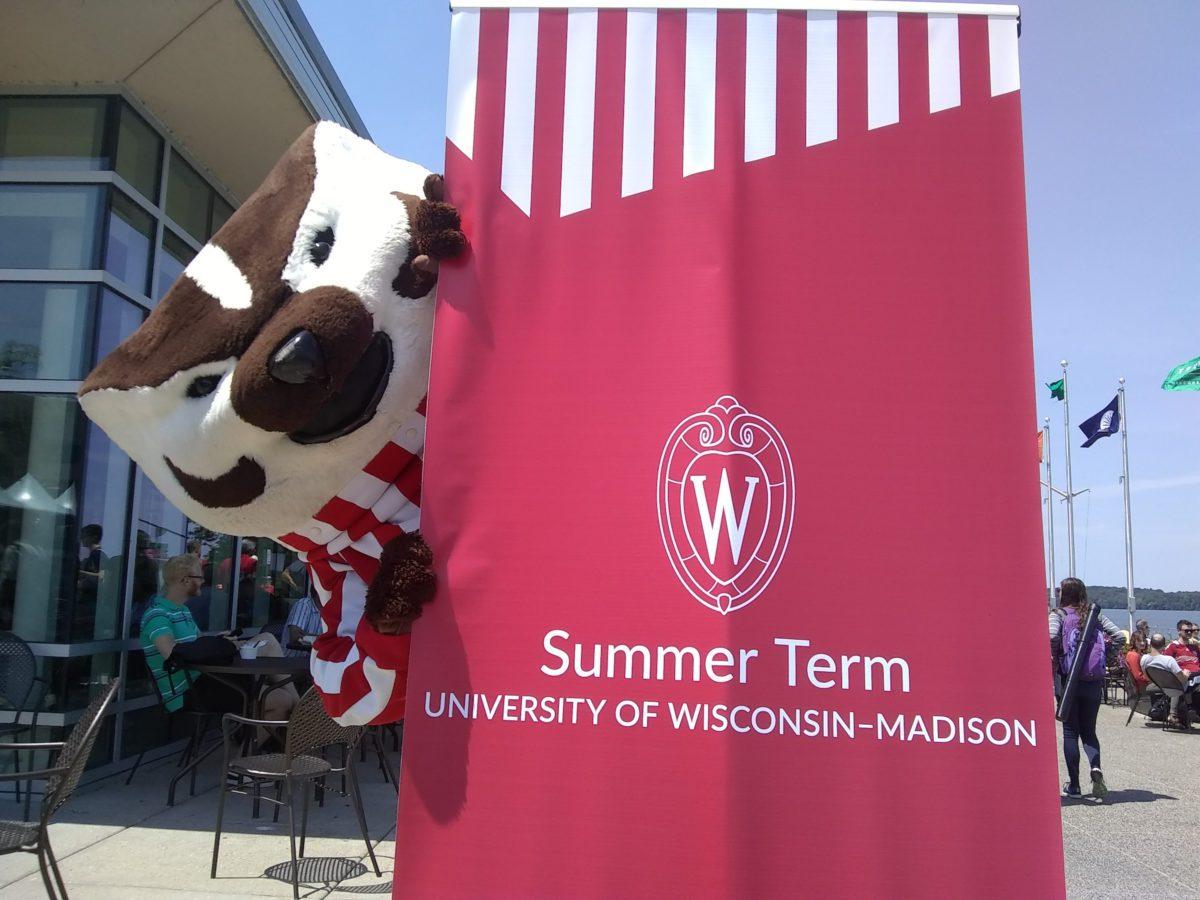 Bucky Badger peeking from behind a red Summer Term banner