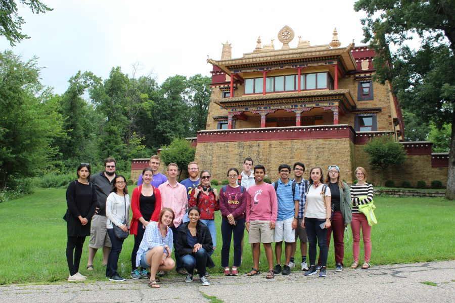 group of students of the language institute standing outside the Deer Creek Buddhist Center