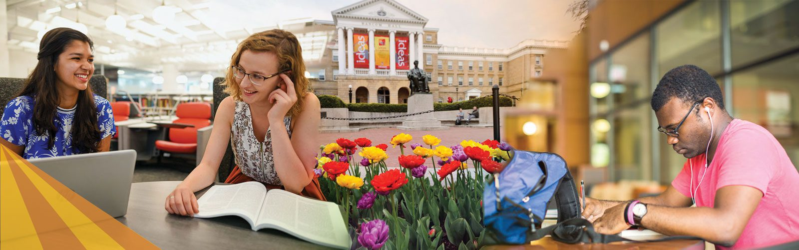 Three photos of students in class, students studying in a library, and Bascom Hall on a beautiful sunny day.