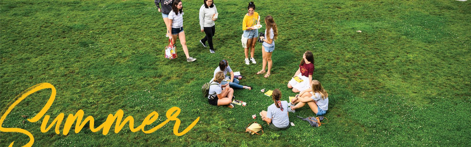 Summer students sitting on grass