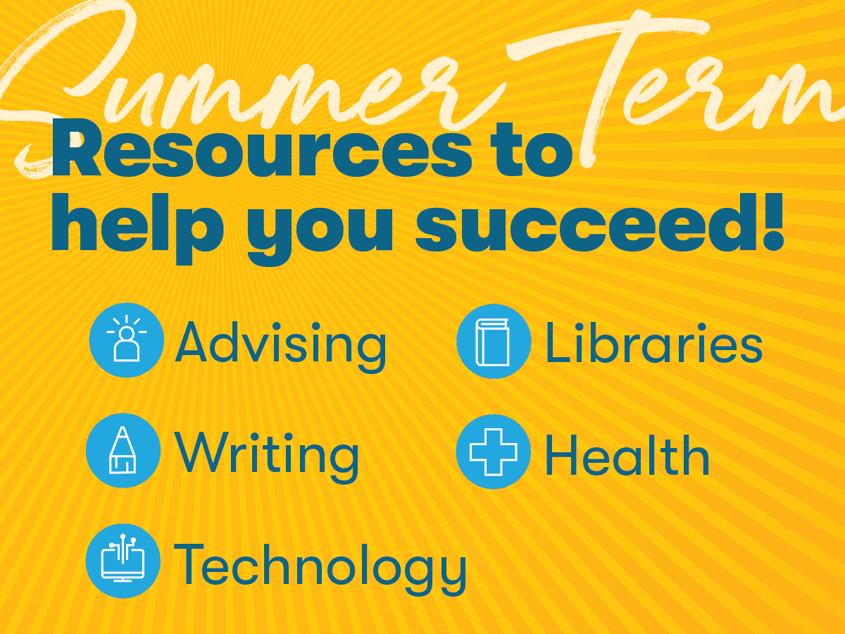 graphic image with sunburst describing resources for online Summer Term students -- advising, writing, libraries, health, technology