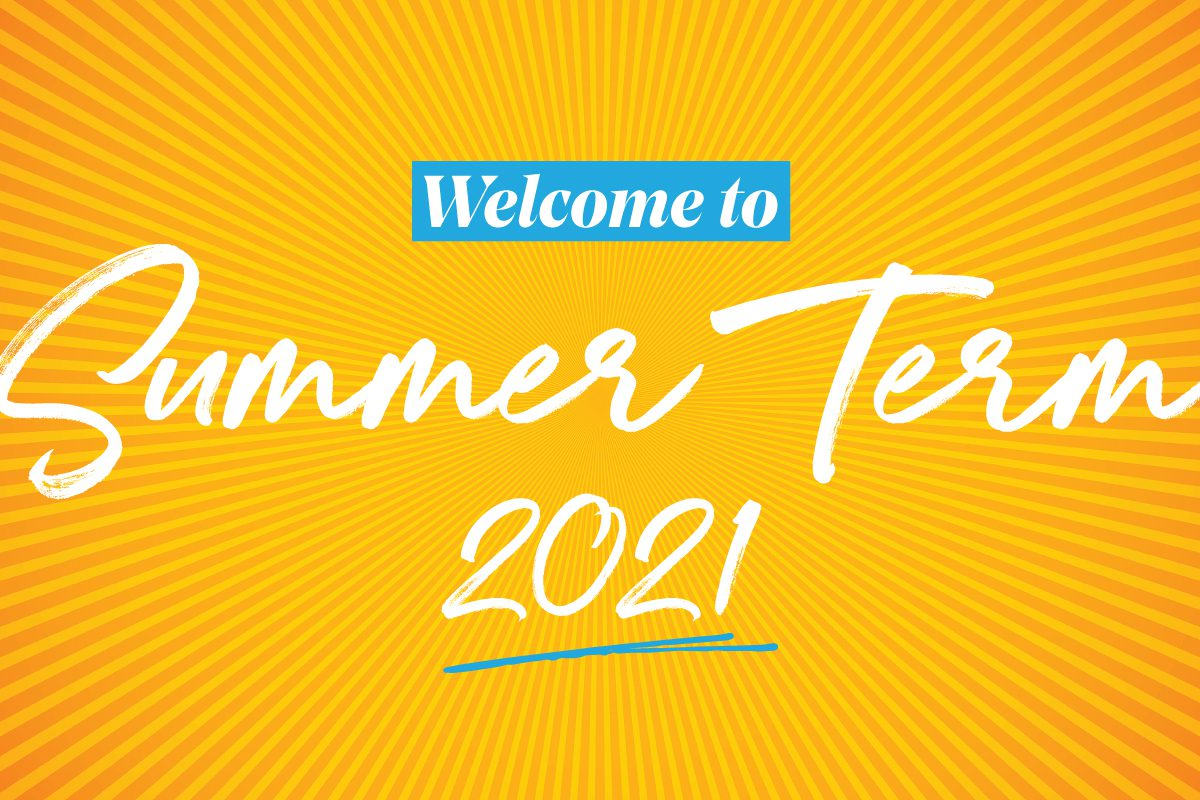 Words Welcome to Summer Term with sunburst background