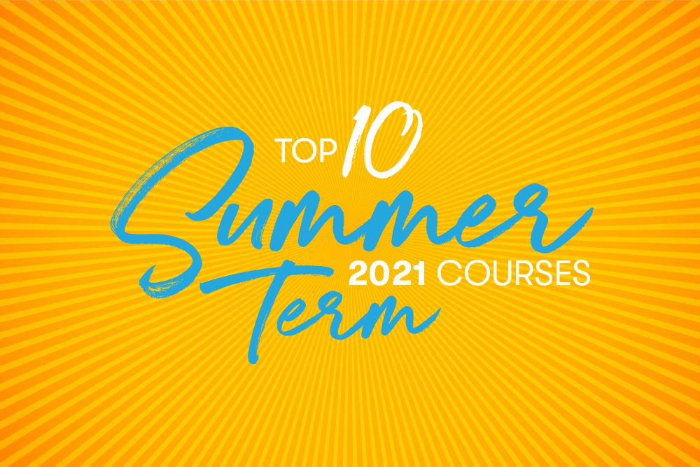graphic of sunbeams with Top 10 Summer Term courses 2021